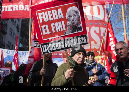 Buenos Aires, Argentina. 21st July, 2018. Social and political organization protest against the G-20 and the director of IMF (International Monetary Fund) meeting in Buenos Aires. Credit: Julieta Ferrario/ZUMA Wire/Alamy Live News - Stock Photo