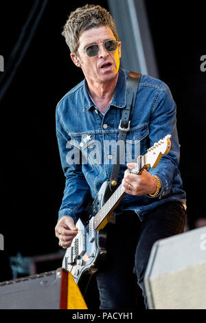 Noel Gallagher performs live on stage with Noel Gallagher's High Flying Birds at the Tramlines Festival in Sheffield, UK, 2018. - Stock Photo