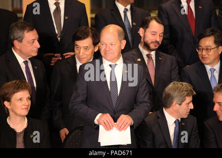 Buenos Aires, Argentina. 21st July, 2018. Olaf Scholz of the Social Democratic Part (M), Federal Minister of Finance, takes his place at the meeting of the G20 finance ministers with finance minister and central bankers for a group photo. Credit: Claudio Santisteban/dpa/Alamy Live News - Stock Photo