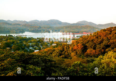 View over the town of Gamboa, rainforest and the Panama Canal, Republic of Panama. March, 2006. - Stock Photo