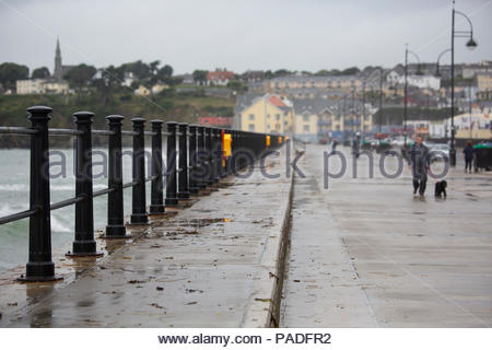 A stormy day on the promenade in Tramore, Ireland, a town on the south-east coast of the country - Stock Photo
