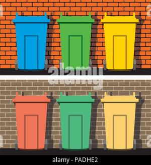 vector illustration of recycling wheelie bins against the background of a brick wall, industrial recycle of waste and garbage concept, eps10 - Stock Photo