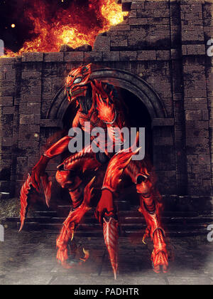Red scorpion demon standing among burning ruins. 3D render. - Stock Photo