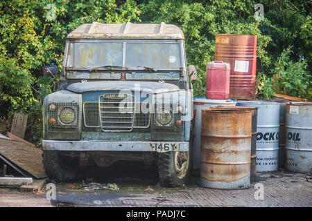 Classic Land Rover Defender, English heritage classic car. - Stock Photo