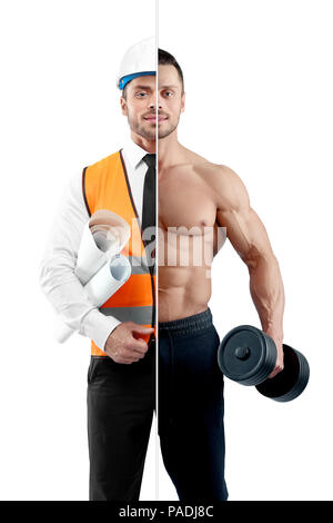 Comparison of bodybuilder and architect's outlook. Fitnesstrainer holding heavy dumbbell, wearing black trousers. Architect wearing white shirt with black tie, orange vest, helmet, keeping papers. - Stock Photo