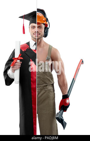 Comparison of university's graduate and woodcutter's outlook. Student wearing black and red graduation gown, keeping diploma. Woodcutter wearing uniform, protective helmet and keeping an axe. - Stock Photo