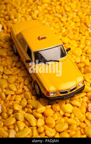 yellow taxi cab toy car model - Stock Photo