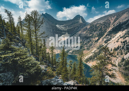 Mount Saddle and Lake Agnes. Photo taken in Banff National Park, - Stock Photo