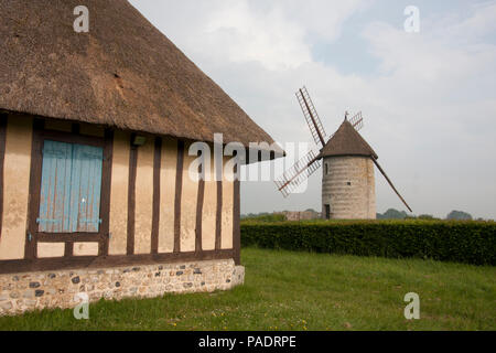 La Moulin de Pierre, a restored windmill with sails, Hauville, Eure, Haute-Normandie, Normandy, France - Stock Photo