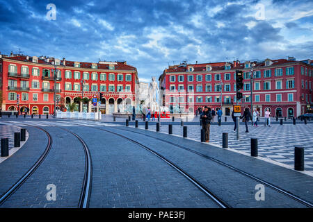 France, Nice, Place Massena, main square in the city, view to Fountain of the Sun (Fontaine du Soleil). - Stock Photo