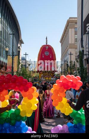 Ratha Yatra Procession on Stephen Avenue, Downtown Calgary, Alberta, Canada. - Stock Photo