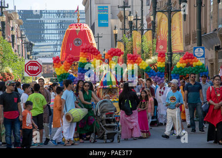Ratha Yatra Procession on Stephen Avenue, Downtown Calgary, Alberta, Canada. - Stock Photo