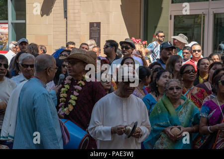Worshippers Chanting Hare Kristna at the Ratha Yatra on Stephen Avenue, Downtown Calgary, Alberta, Canada. - Stock Photo