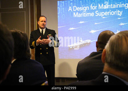 160323-N-LR347-002  NEW YOUR (March 23, 2016) Rear Adm. Michael C. Manazir, director of air warfare, speaks to members and guests of the New York Council of the Navy League as part of their breakfast speaker series, 'Warfighting in the 21st Century,' at the Cornell Club in New York City. Manazir's presentation and follow on discussion focused on the state of naval aviation, the service's efforts to integrate networks and capabilities across warfighting platforms, and how the Navy will meet future challenges. (U.S. Navy photo by Lt. Matthew A. Stroup/Released) - Stock Photo