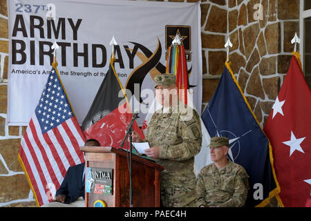 KABUL, Afghanistan - (June 14, 2012) U.S. Army Command Sgt. Maj. Jeffery Hof assigned to NATO Training Mission-Afghanistan (NTM-A) gives remarks during the 237th United States Army Birthday celebration aboard Camp Eggers, Kabul Afghanistan, June 14. NTM-A is a coalition of 38 troop-contributing nations charged with assisting the Government of the Islamic Republic of Afghanistan in generating a capable and sustainable Afghan National Security Force ready to take lead of their country's security by 2014. For more information about NTM-A, visit - Stock Photo