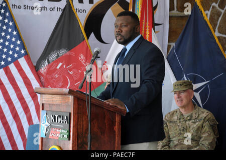 KABUL, Afghanistan - (June 14, 2012) U.S. Army Command Sgt. Maj. Russel McCray (Retired) gives remarks during the NATO Training Mission-Afghanistan (NTM-A) 237th United States Army Birthday celebration aboard Camp Eggers, Kabul Afghanistan, June 14. NTM-A is a coalition of 38 troop-contributing nations charged with assisting the Government of the Islamic Republic of Afghanistan in generating a capable and sustainable Afghan National Security Force ready to take lead of their country's security by 2014. For more information about NTM-A, visit - Stock Photo