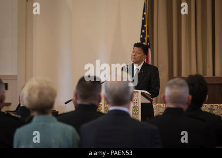 Yoshitaka Shindo, member of the National Diet of Japan gives remarks during the memorial service of retired U.S. Marine Corps Lt. Gen. Lawrence F. Snowden at the U.S. Marine Memorial Chapel, Quantico, Va., April 8, 2017. Snowden retired in 1979 after nearly 40 years of service, fought in engagements during World War II, the Korean War, and Vietnam. He passed away Feb. 18, 2017. He was prominently known after retirement for organizing joint 'Reunion of Honor' missions which is an opportunity for Japanese and U.S. veterans and their families, dignitaries, leaders and service members from both na - Stock Photo