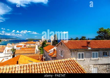 View of Rab town on Croatian island Rab from a city hill - Stock Photo
