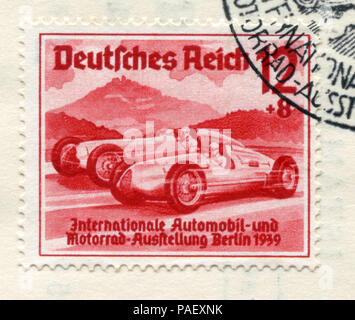 German historical stamp: Racing cars 'Auto Union'and' Mercedes-Benz'. 'International auto and motor show in Berlin (IAA) 1939', special cancellation - Stock Photo