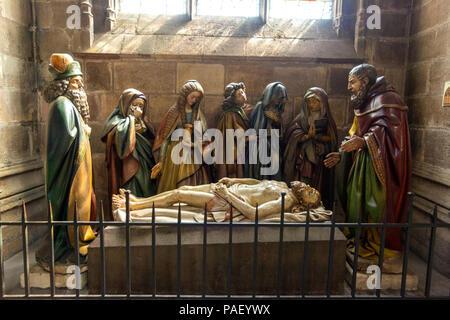 Entombment, Cathedral Basilica Notre-Dame-de-l'Annonciation, Allier department, Auvergne-Rhône-Alpes, France - Stock Photo