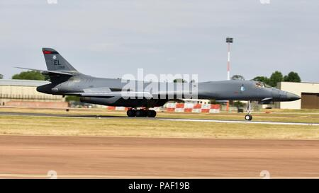 Rockwell B-1 Lance arriving at RAF Fairford for the 2018 Royal International Air Tattoo - Stock Photo