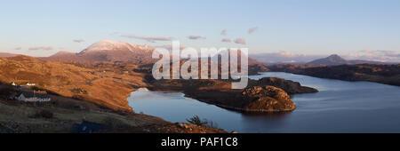 Panorama of Loch Inchard, Sutherland - Stock Photo