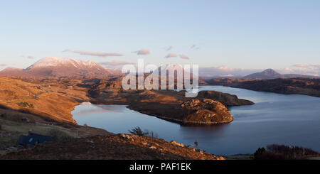 Panoramic view of Loch Inchard with Ben Stack, Arkle and Foinaven in the distance, Sutherland - Stock Photo
