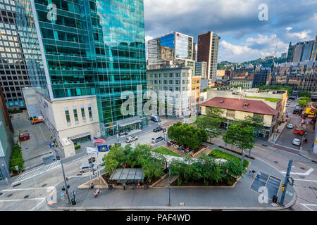 View of modern skyscrapers in downtown Pittsburgh, Pennsylvania - Stock Photo