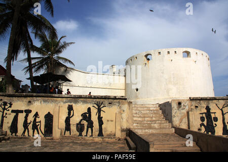 Historical fortress in Cape Coast, Ghana, also known as the Gateway to Hell, as this was one of the main forts used as slave trade market and prison - Stock Photo
