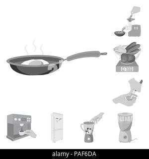 Cooking food monochrome icons in set collection for design. Kitchen, equipment and tools vector symbol stock  illustration. - Stock Photo