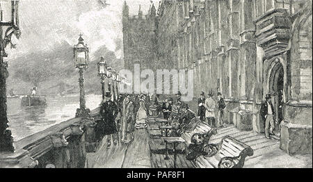 The Terrace, Westminster Palace in the 19th century - Stock Photo