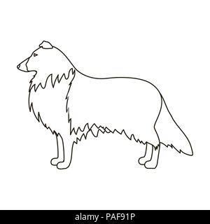 Collie icon in outline style isolated on white background. Dog breeds symbol vector illustration. - Stock Photo
