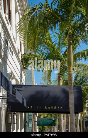 Close up of the canopy over the entrance to the Ralph Lauren designer store in Rodeo Drive, Beverly Hills, Los Angeles - Stock Photo