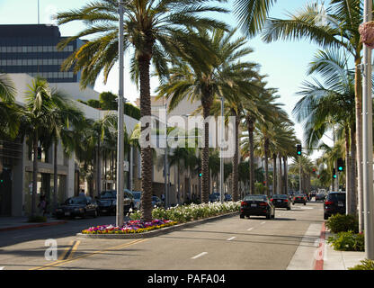 Wide angle view of designer shops and palm trees on Rodeo Drive, Beverly Hills, Los Angeles - Stock Photo