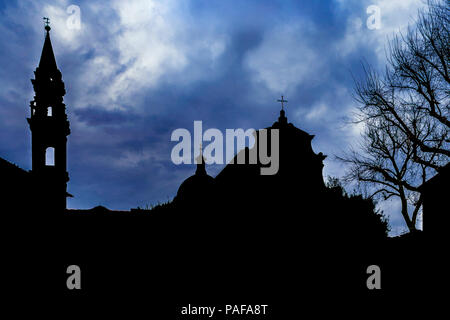 Silhouette scene at famous piazza santo spirito at oltrarno district in florence city, Italy - Stock Photo