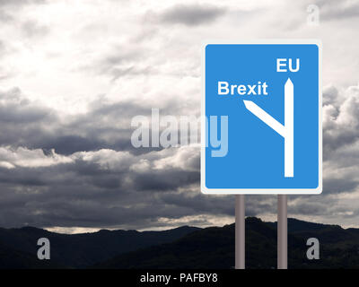 Brexit, EU road sign against cloudy sky. Concept, politics UK. - Stock Photo
