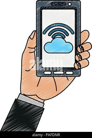 Hand holding smartphone with cloud computing vector illustration graphic design