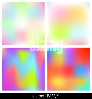 Holographic blurred vector background. Iridescent foil rainbow art. - Stock Photo