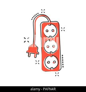 Vector cartoon extension cord sign icon in comic style. Electric power socket sign illustration pictogram. Power socket business splash effect concept - Stock Photo