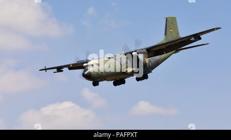 German Air Force (Luftwaffe) Transall C-160D military transport aircraft arriving at RAF Fairford for the 2018 Royal International Air Tattoo - Stock Photo