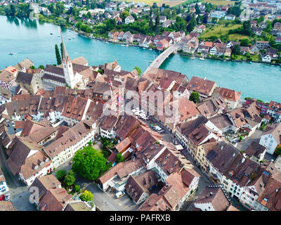 Stein-Am-Rhein medieval city near Shaffhausen, Switzerland - Stock Photo