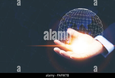 A man hand holding the digital global network technology digital network virtual screen,Future innovation concept. - Stock Photo