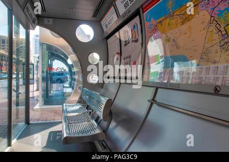 Interior of a Dubai bus stop, Dubai, United Arab Emirates - Stock Photo