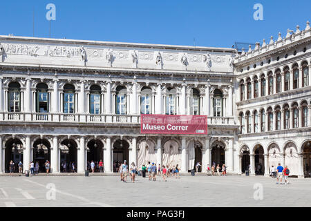 Museo Correr, Correr Museum, Piazza San Marco, Venice, Veneto, Italy. Facade onto St Marks square with sign. Fine Arts and History museum. - Stock Photo