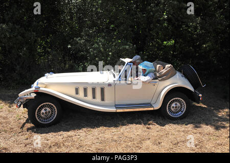 2 great friends in a wonderful two seater sports car, the 2.8 Ltr Panther Kallista seen here climbing the hills around the beautiful area of Languedoc - Stock Photo