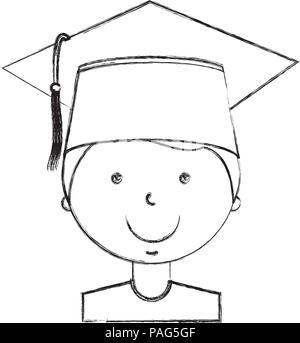 school boy in graduation hat portrait - Stock Photo