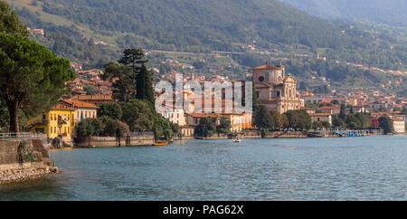 A small town on Lake Iseo - Sale Marasino. Italy - Stock Photo