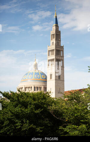 The Basilica of the National Shrine of the Immaculate Conception in Washington, DC. - Stock Photo