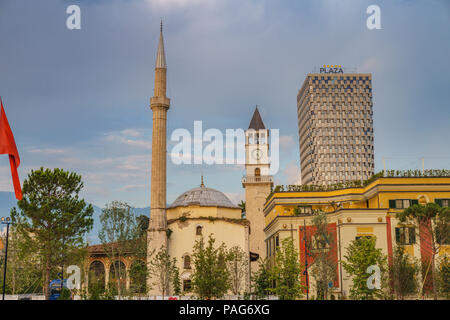 The Ethem Bey Mosque in Skanderbeg Square in the center of Tirana, Albania. - Stock Photo