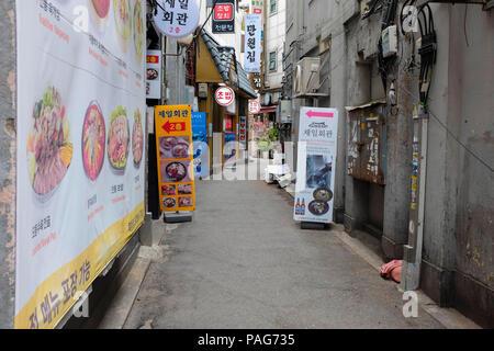 South Korea Shopping Street, Myeongdong, Seoul, South Korea. - Stock Photo